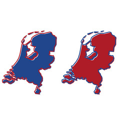 simplified map of netherlands outline fill and vector image