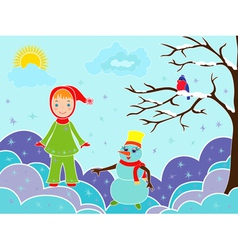 Small girl with snowman among snowdrifts vector
