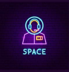 Space neon label vector