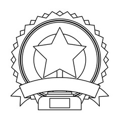 star pedestal badge banner ribbon decoration vector image