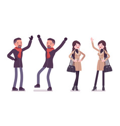 Stylish man and woman in autumn clothes positive vector