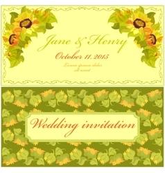 Sunflower Wedding Invitation Vintage vector