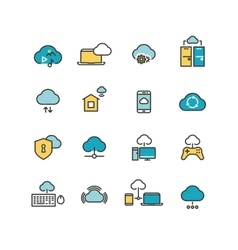 Syncing computer cloud computing network big vector