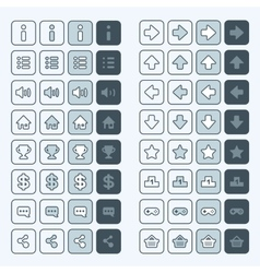 Thin line game icons buttons interface ui vector