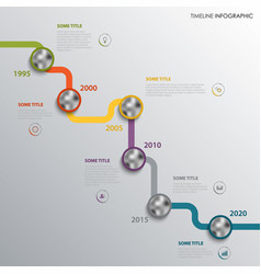 time line info graphic with design elements vector image