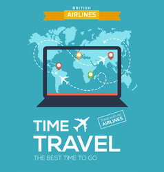 Travel poster banner of airline screen of laptop vector