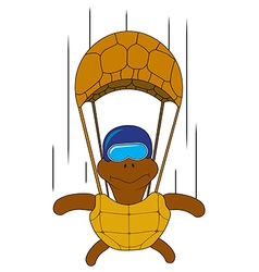 Turtle with a parachute vector
