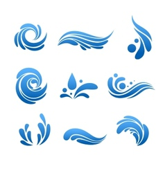 Water drop and splash icon set vector
