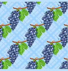 watercolor grapes diagonal seamless pattern vector image