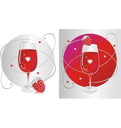 Wine Glass with Strawberry vector