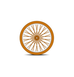 Wooden bicycle wheel with shadow vector