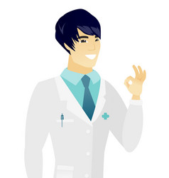 Young asian doctor showing ok sign vector