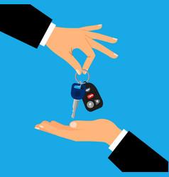 Car keys with men hands vector