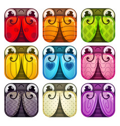 cute colorful glossy square bugs set vector image