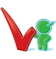 green hero with positive checkmark vector image vector image