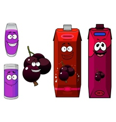 Happy cartoon currant fruit and juice drinks vector image