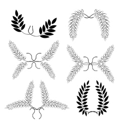Laurel wreath tattoo set Black ornaments nine vector image vector image