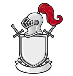 medieval knight helmet shield crossed swords and vector image