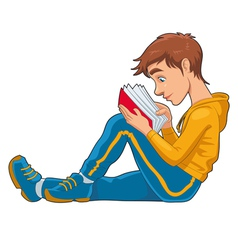 Reading student vector image