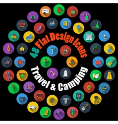 Travel and Camping Icons vector image