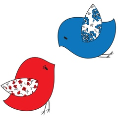 Two stylized birds vector image