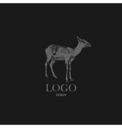 with engraving antelope or goat Logo design vector image