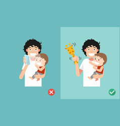 Wrong and right ways playing with kids smartphone vector