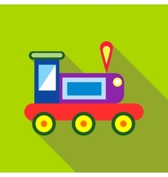 Children s toy train on a bright green background vector image vector image