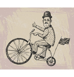 gentleman on a bicycle vector image