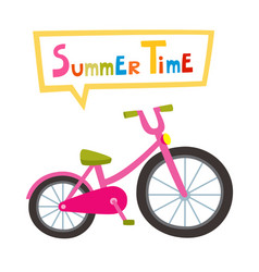 riding pink bike isolated on white vector image