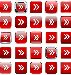 Square red arrow icons vector image