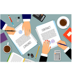 businessman hands signing documents vector image vector image