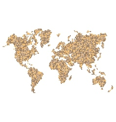 Dotted Brown World Map Isolated on White vector image vector image