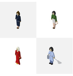 isometric human set of pedagogue female vector image vector image