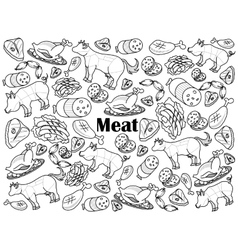 Meat colorless set vector image vector image