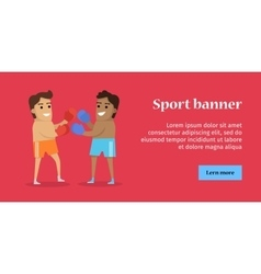 Two man boxing sports banner vector
