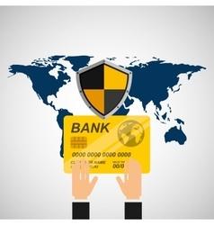 credit card banking safe shield protection vector image