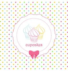 cupcake polka dot background vector image