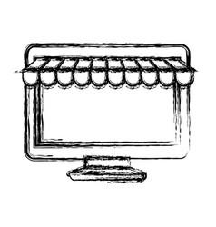 monochrome blurred silhouette of desktop computer vector image