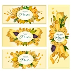 Pasta macaroni Italian cuisine banners set vector image vector image