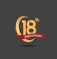 18 anniversary design logotype golden color vector