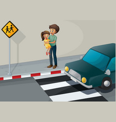 A father carrying his daughter at the pedestrian vector image