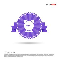alaram clock icon - purple ribbon banner vector image