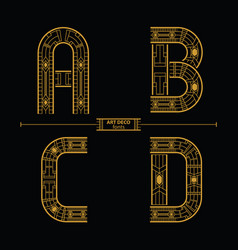 Alphabet art deco style in a set abcd vector