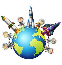 Astronaunts and spaceship on earth vector
