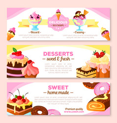 Banners set for homemade bakery desserts vector