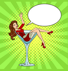 Beauty young woman in glass for alcohol pop art vector