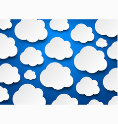 blue background with white clouds pattern vector image