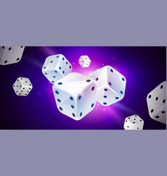 blue background with white game dices table craps vector image