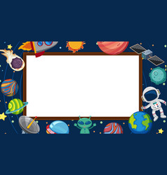 Border template with planets in space vector
